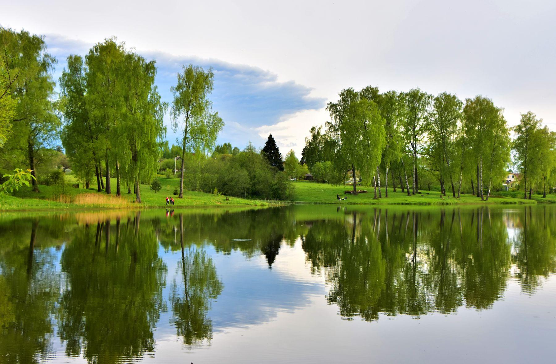 Вечер на реке Вяз парк пруд май весна вечер облака отражение