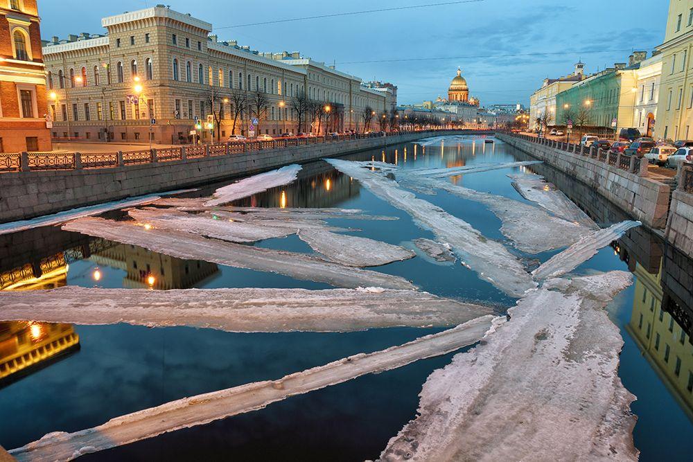 Весенний ледоход. река вода лед ледоход весна тепло вечер закат