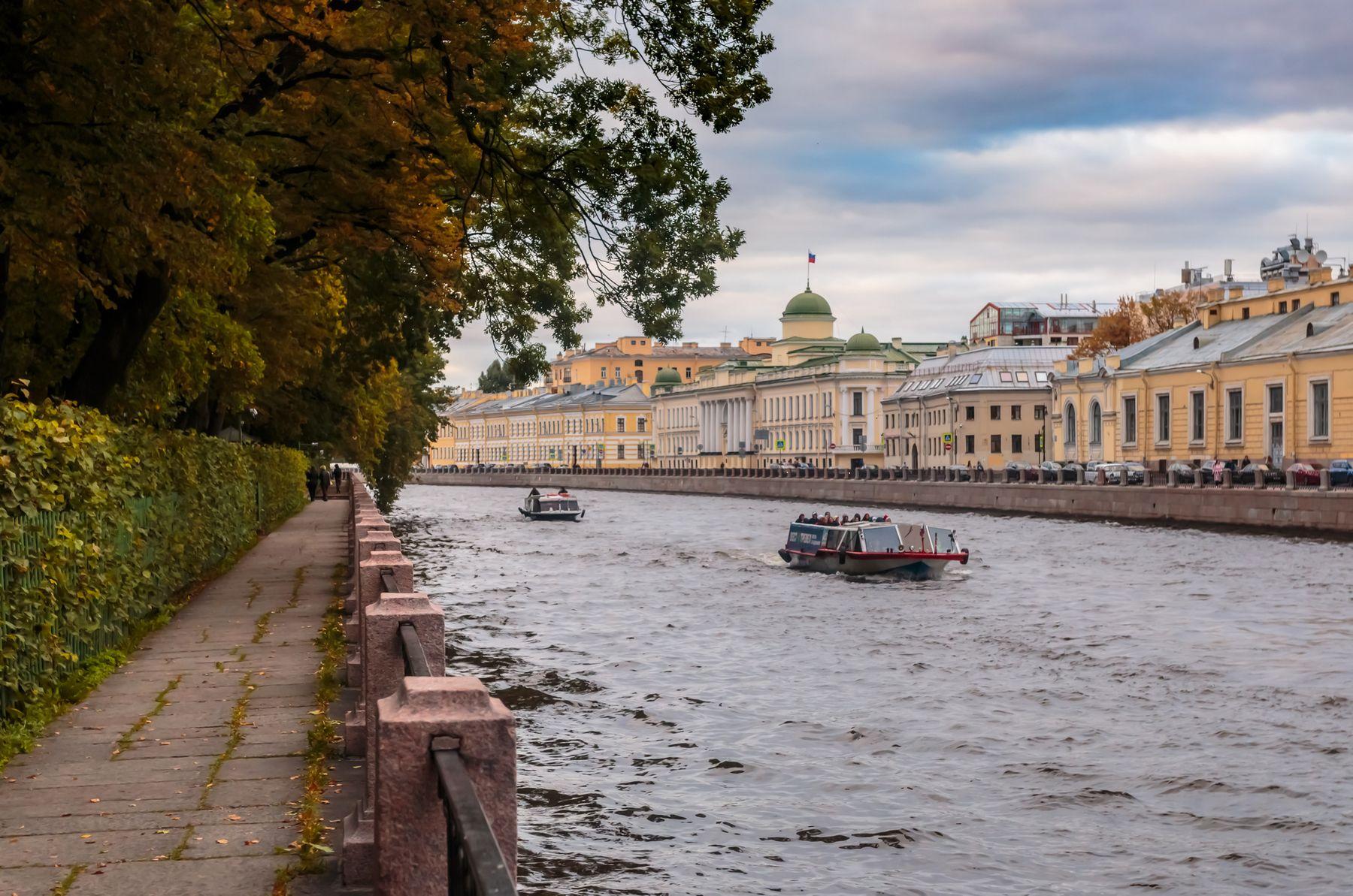 Течение ранней осени Санкт-Петербург вечер река осень Летний Сад