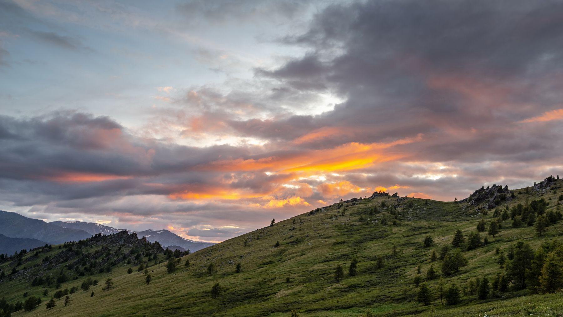 Алтайский вечер. горы алтай горный аккем пейзаж природа россия ник васильев красота вечер закат