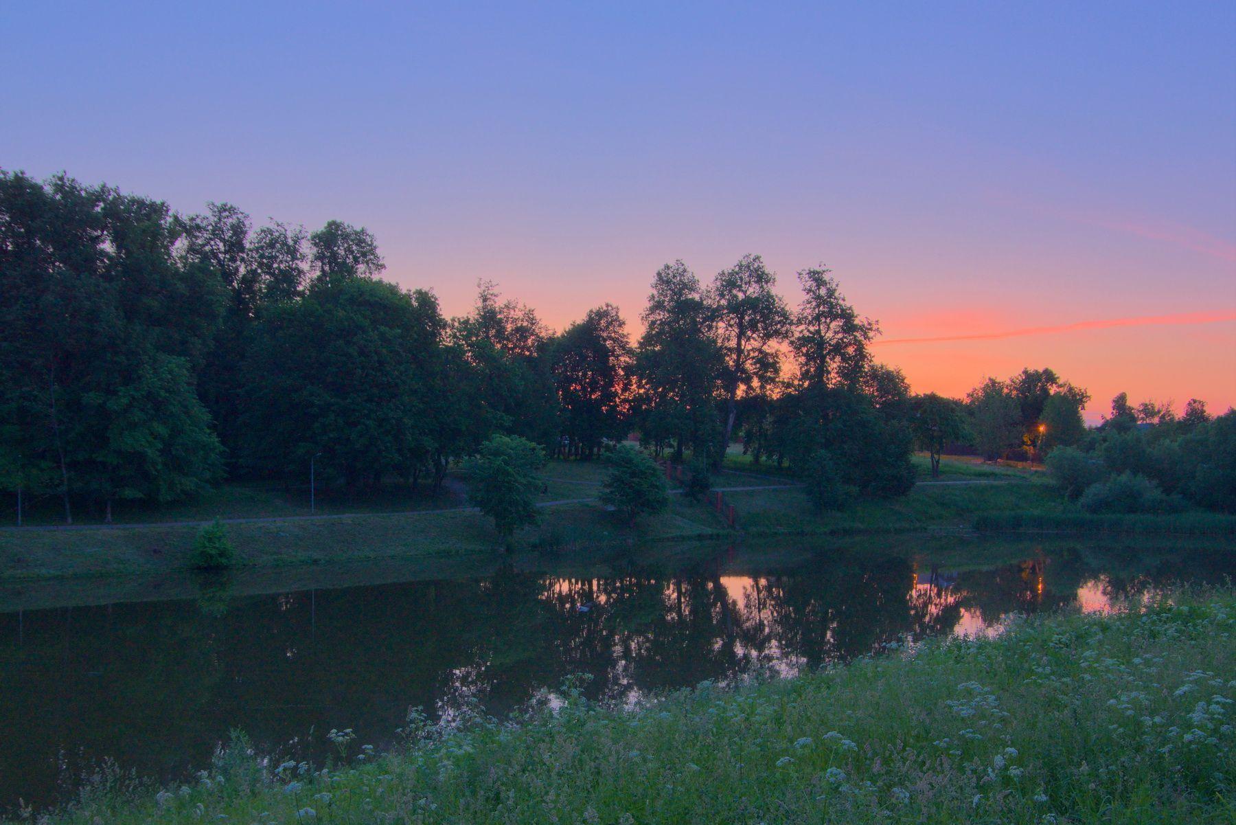 Рассвет рассвет заря небо парк озеро пейзаж