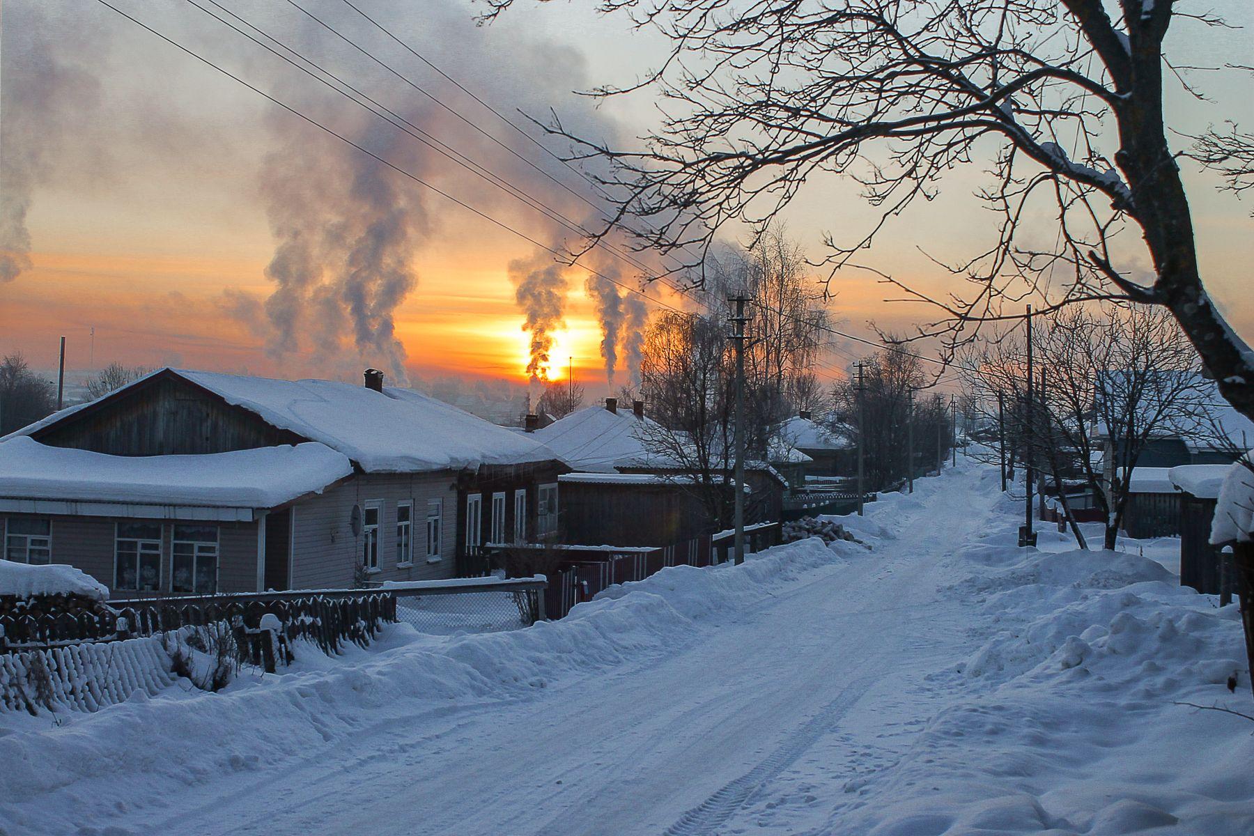 Февральское утро в селе.
