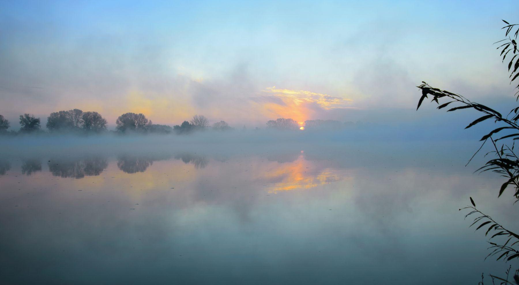 Туманный восход на Белой реке.