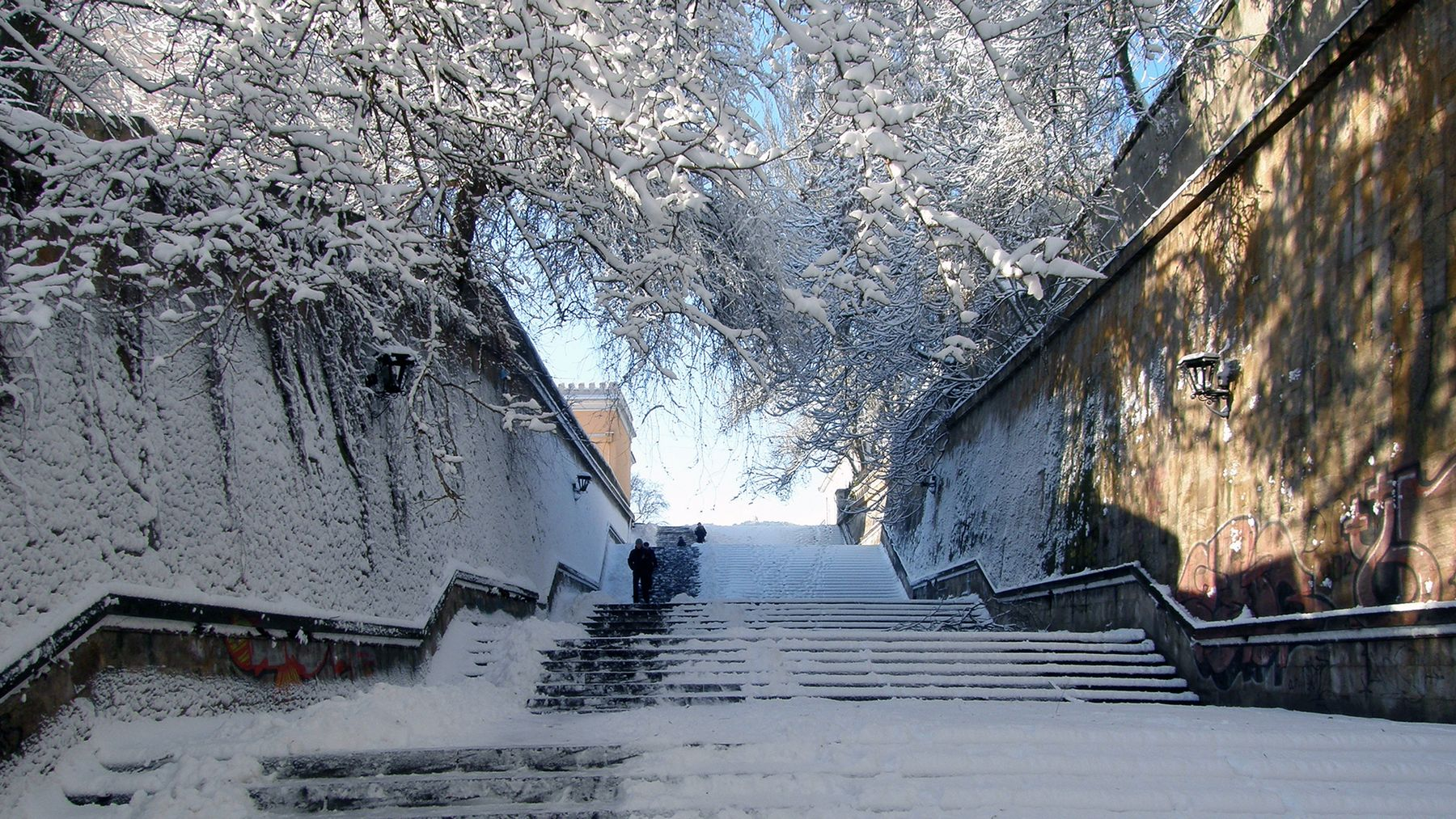 *** Ланжероновский спуск зима снег лестница