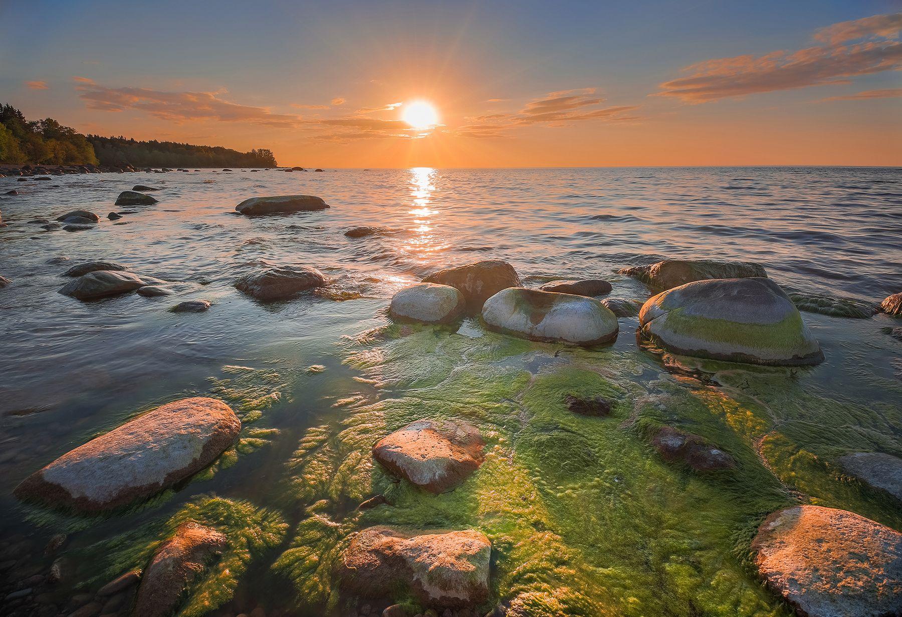 Вечерний залив море вода камни закат золотой час небо цвета краски