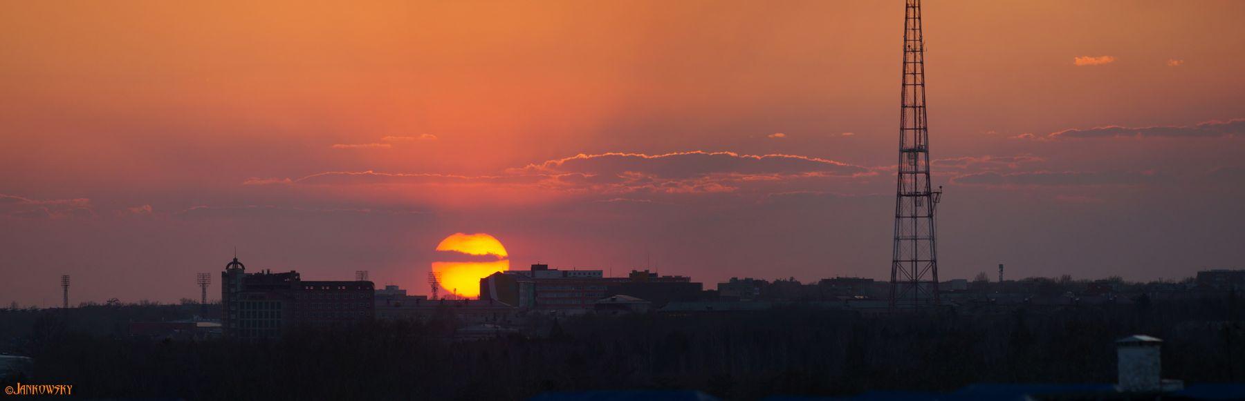 Пекло  26.04.21 омск панорама закат пекло солнце canon fd 300mm f2.8l
