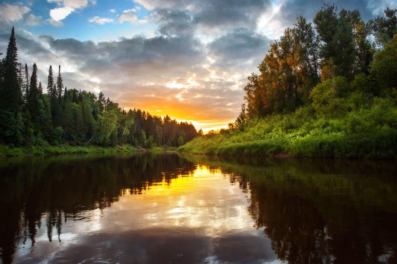 Река Кильмезь Река Кильмезь Удмуртия Пейзаж Вечер