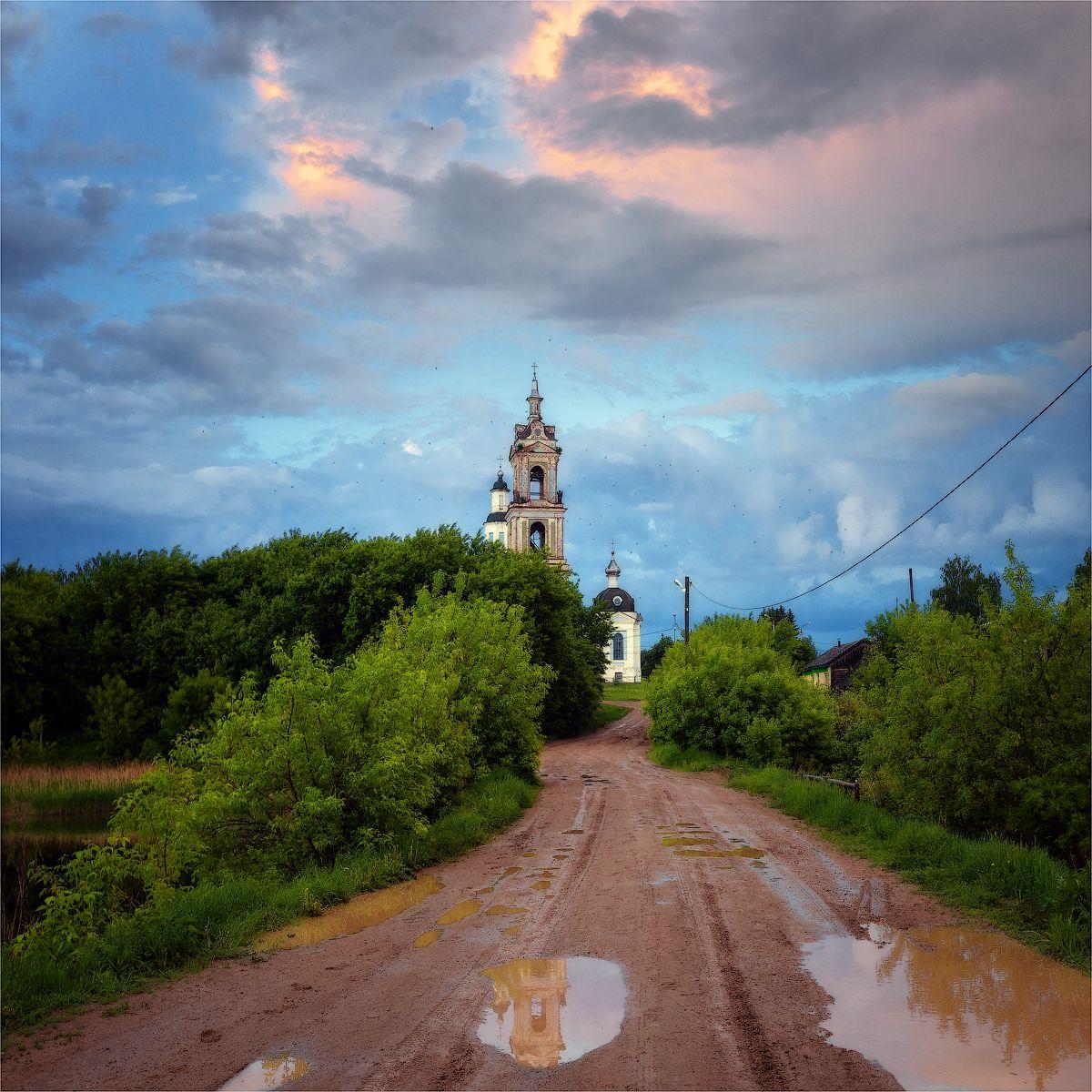 Дорога к храму.. храм церковь дорога ильинское кировскаяобласть облака лужа деревья