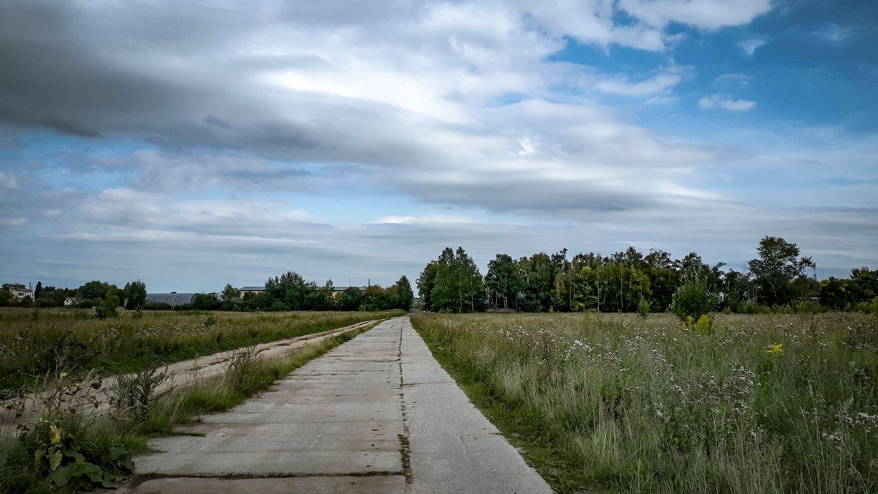 *** лето поле дорога небо трава деревья облака