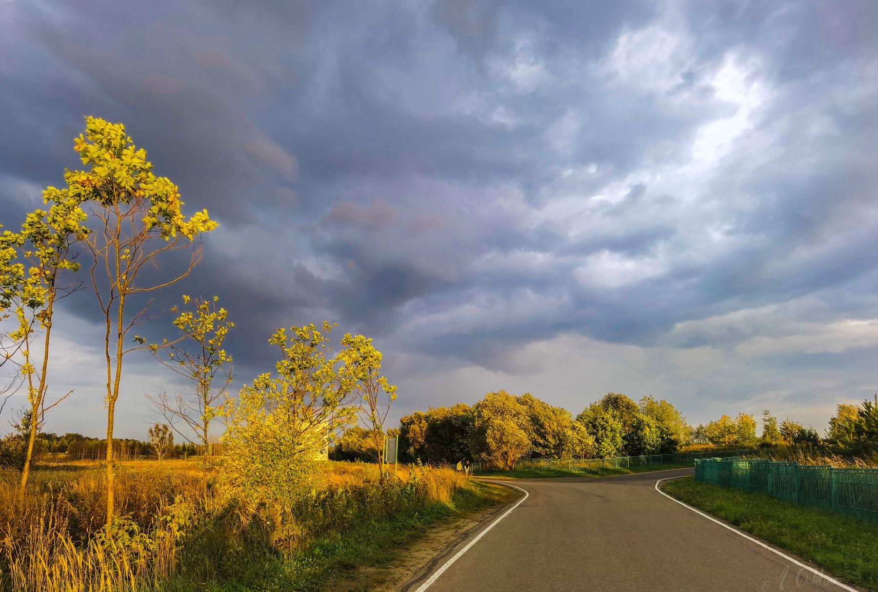 Сентябрьское непостоянство поле дорога тучи вечер дождь солнце