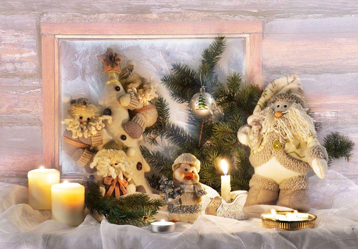 Старый Новый год... январь зима Старый Новый год поздравление ёлка морозное окно свечи подсвечники гномики игрушки праздник