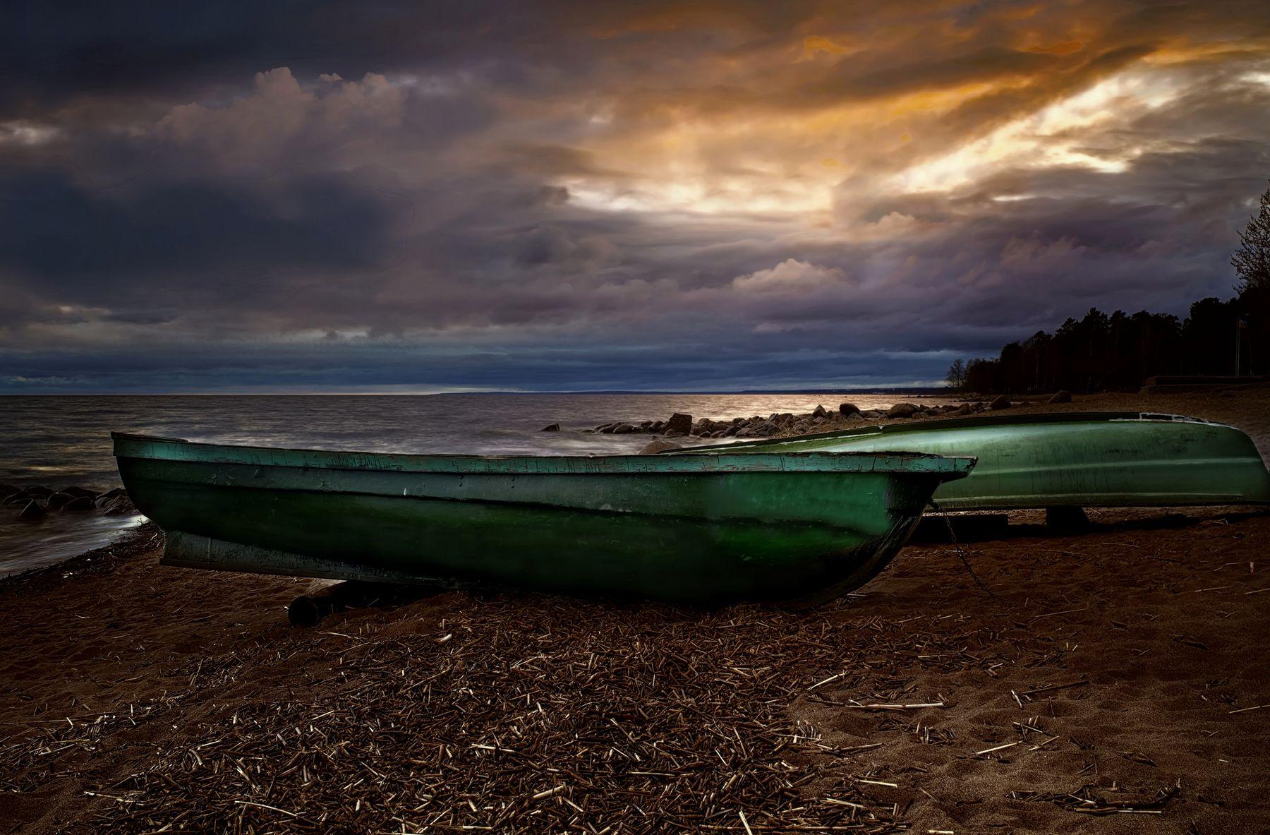 Вечер на Балтике пейзаж море вечер лодки закат небо облака берег
