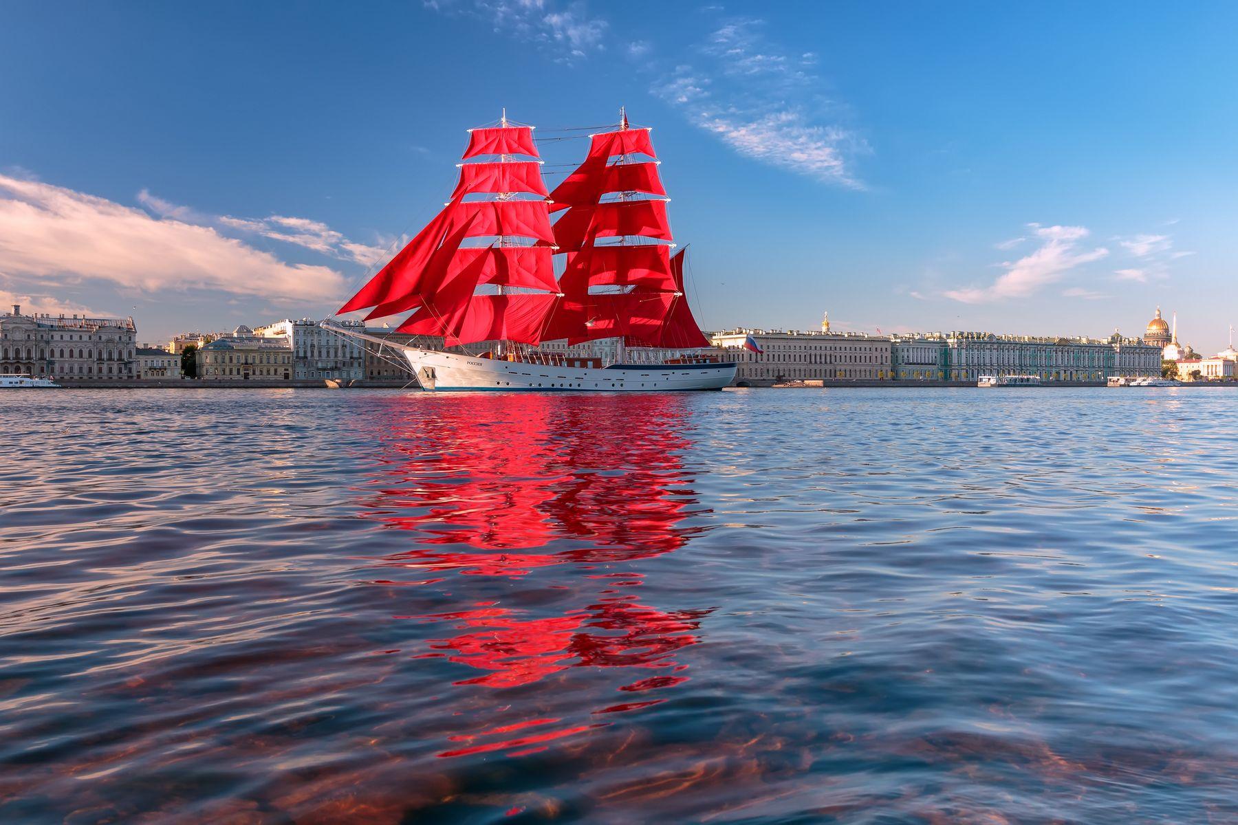 Паруса и волны Санкт-Петербург утро парусник вода отражение небо синева алые паруса