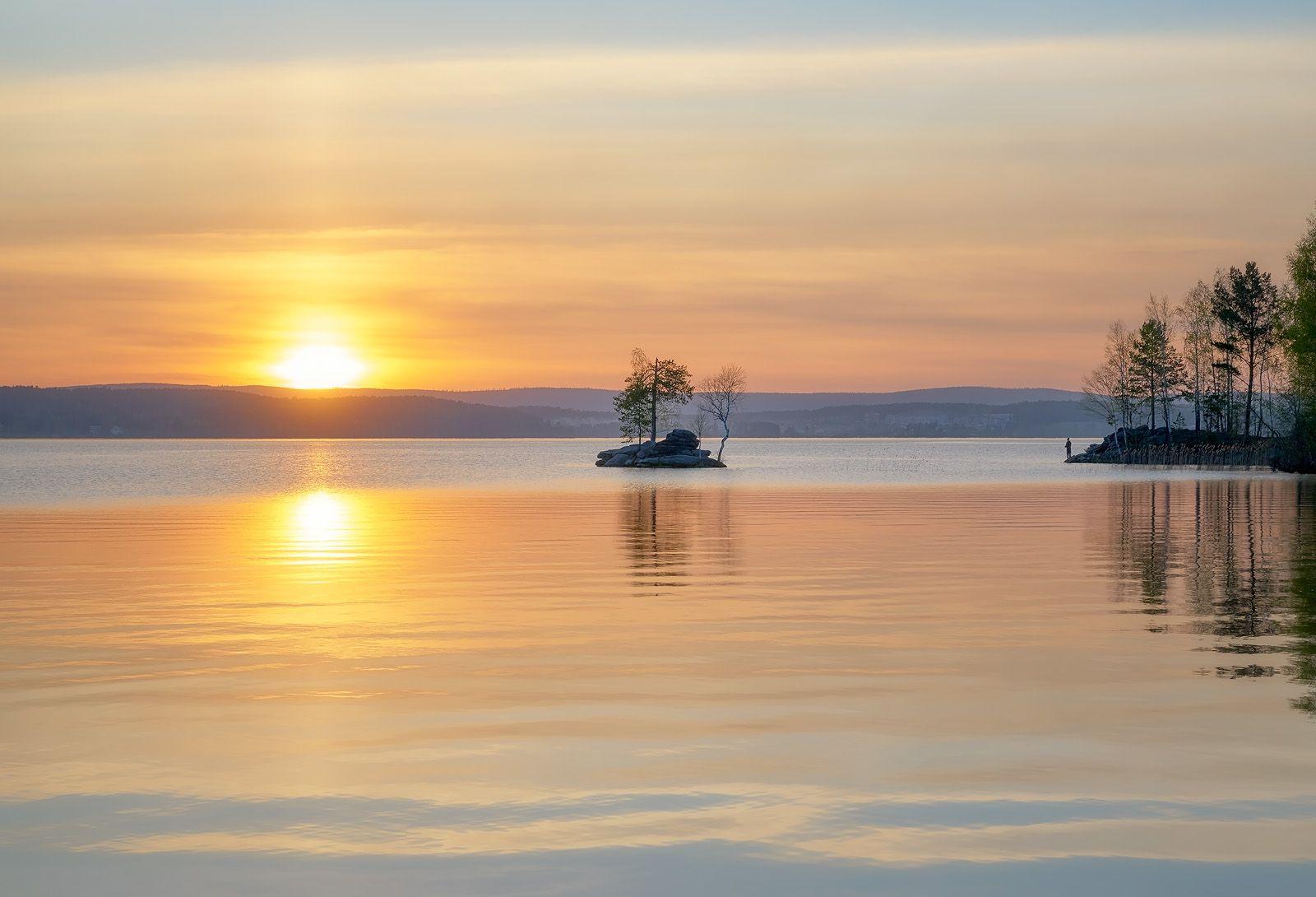 Тишь, да гладь ... закат солнце урал таватуй вода озеро остров