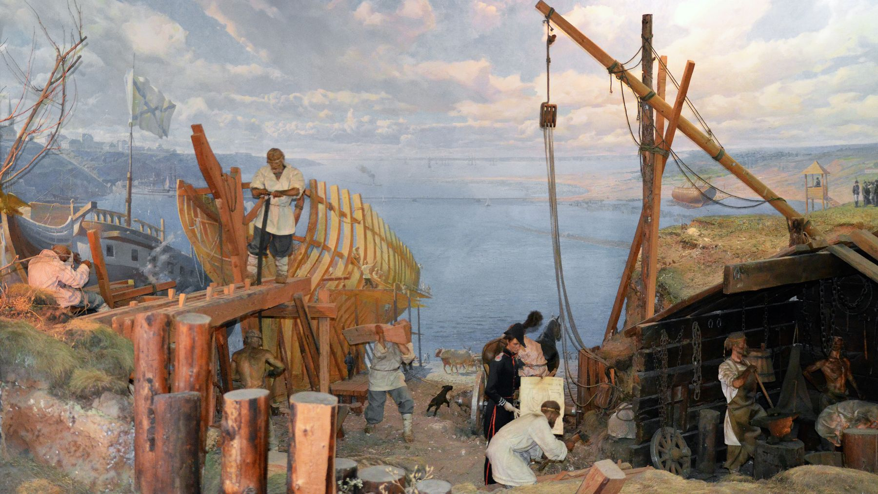 Панорама  судоверфи на реке Ингул в Николаеве