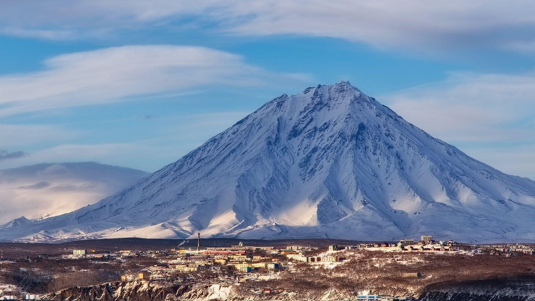 Серый Кардинал берег весна Камчатка Корякский вулкан