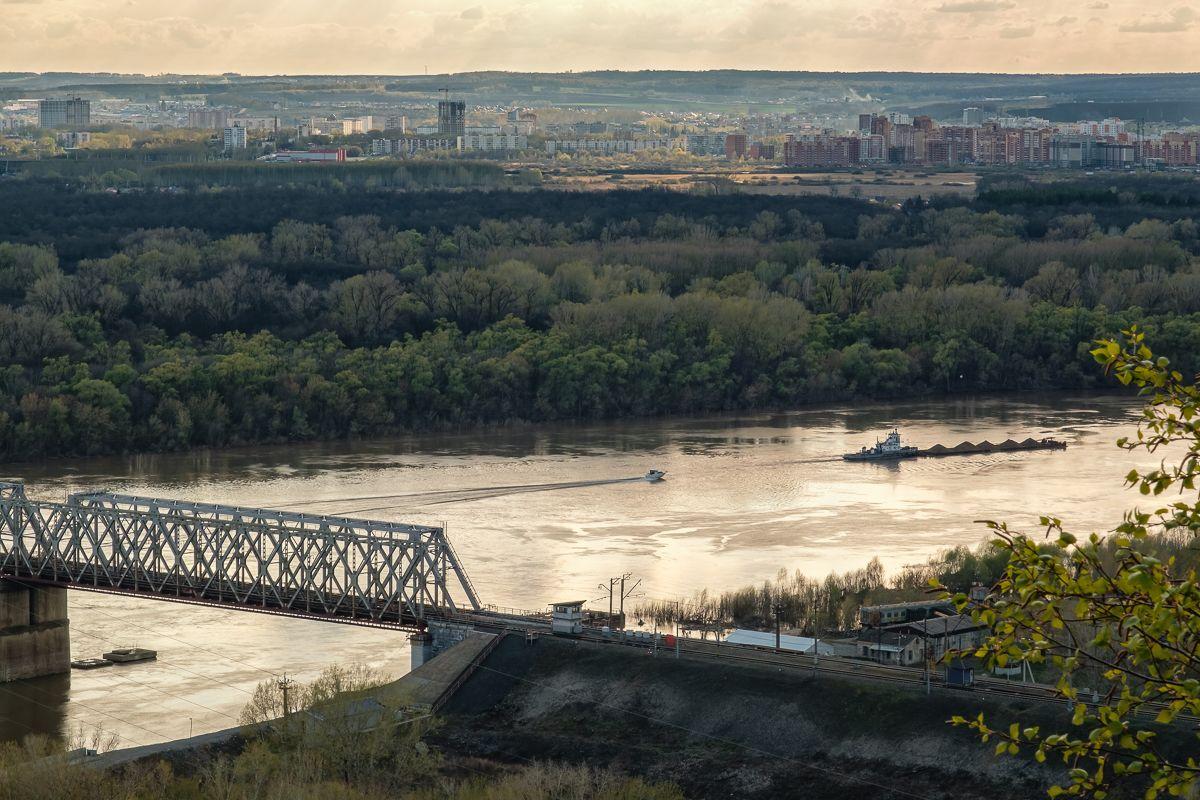 Над рекой река лес вечер мост баржа