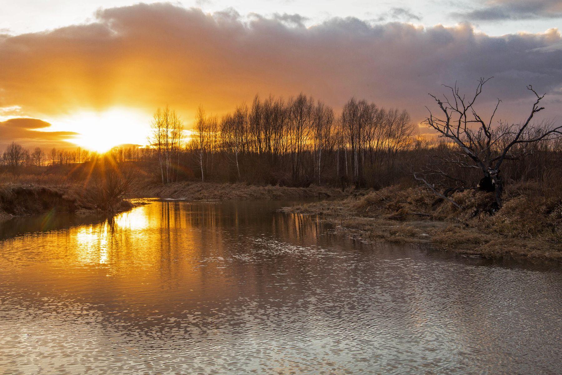 *** природа пейзаж весна вечер закат татарстан протока река казанка