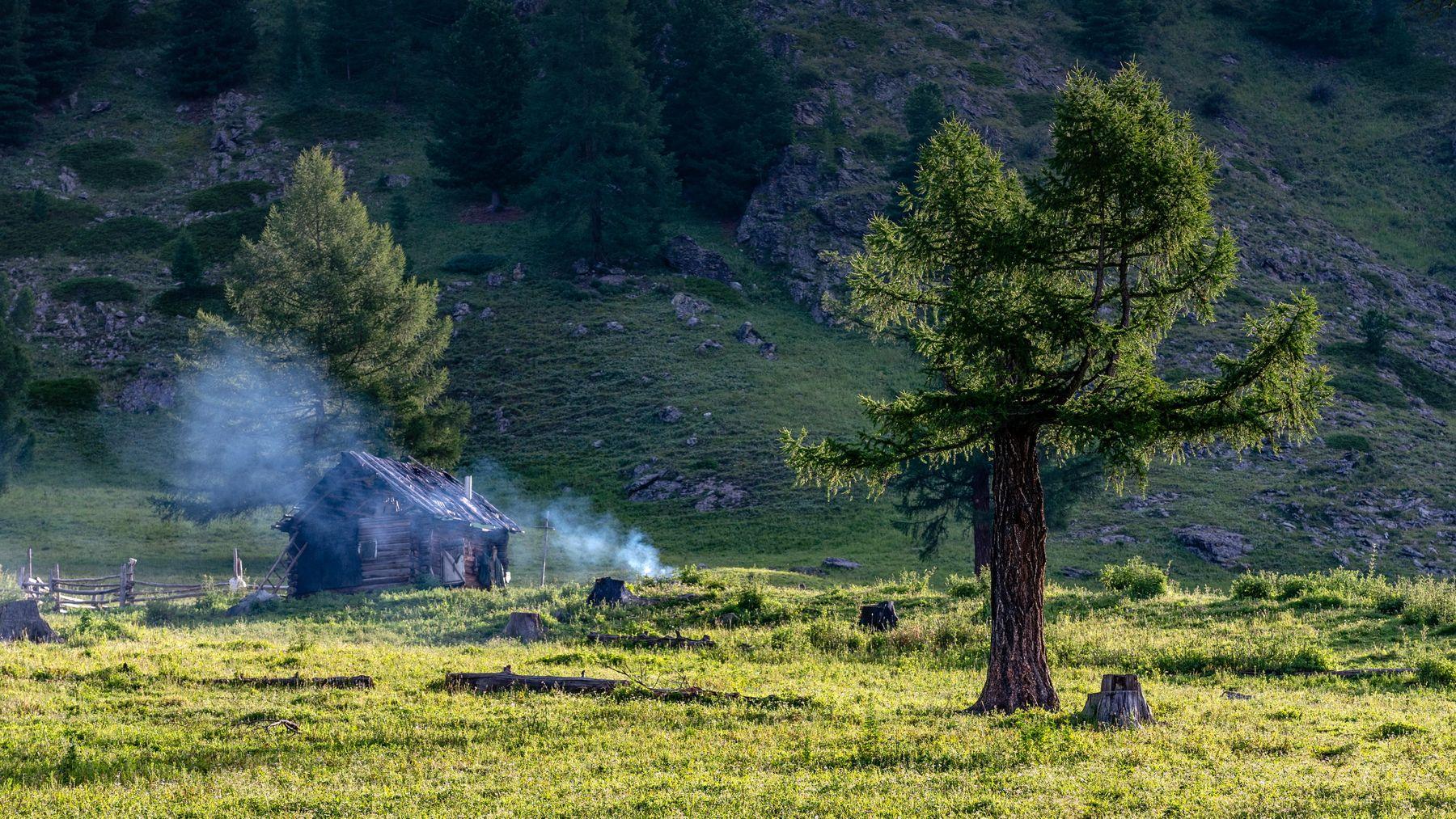 Раннее утро. горы алтай горный аккем пейзаж природа россия ник васильев красота утро дым дом заимка