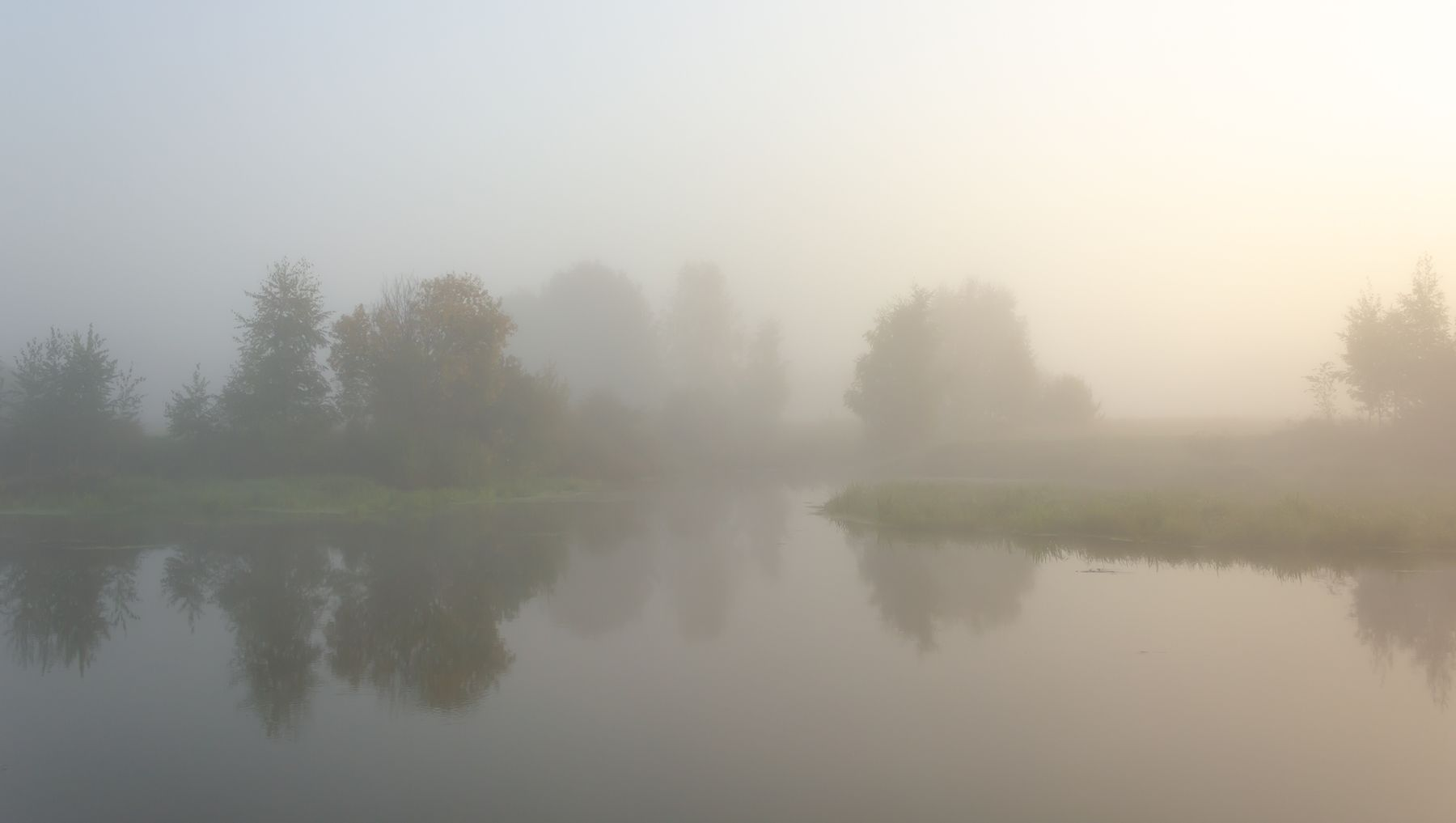 В молоке туман утро река рассвет