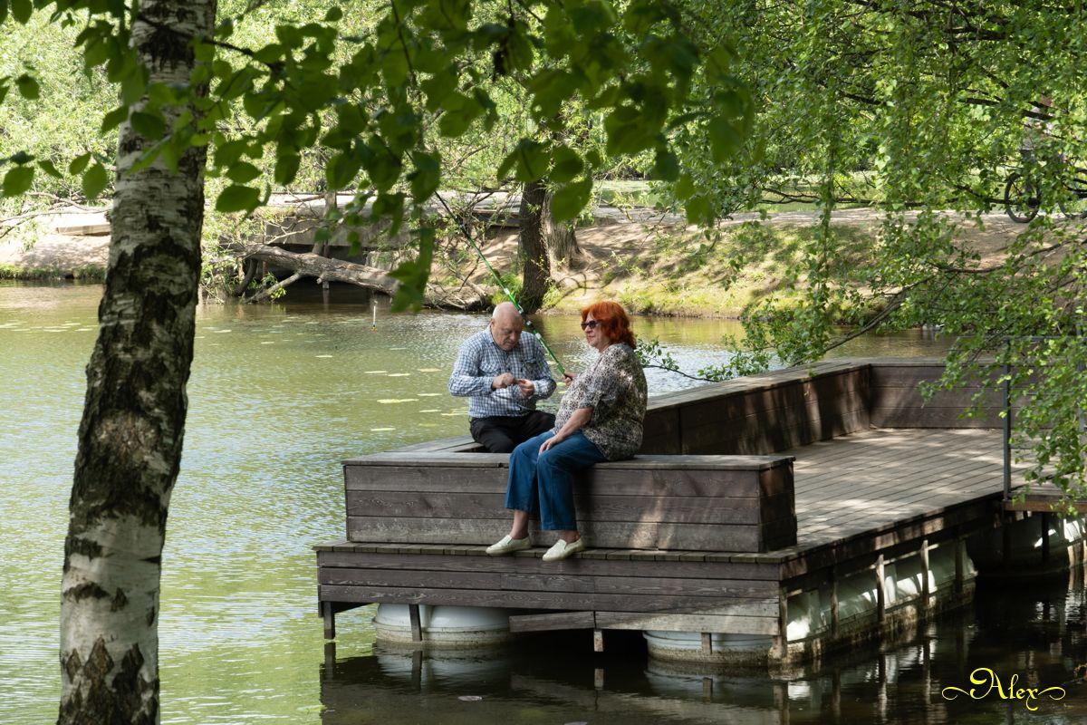 Ситуация на рыбалке рыбалка пруд парк Кузьминки лето