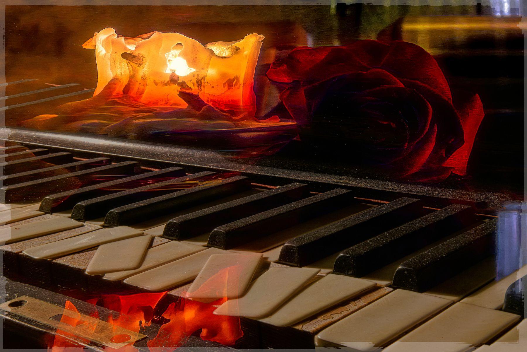 Вечер. пианино свеча роза вечер