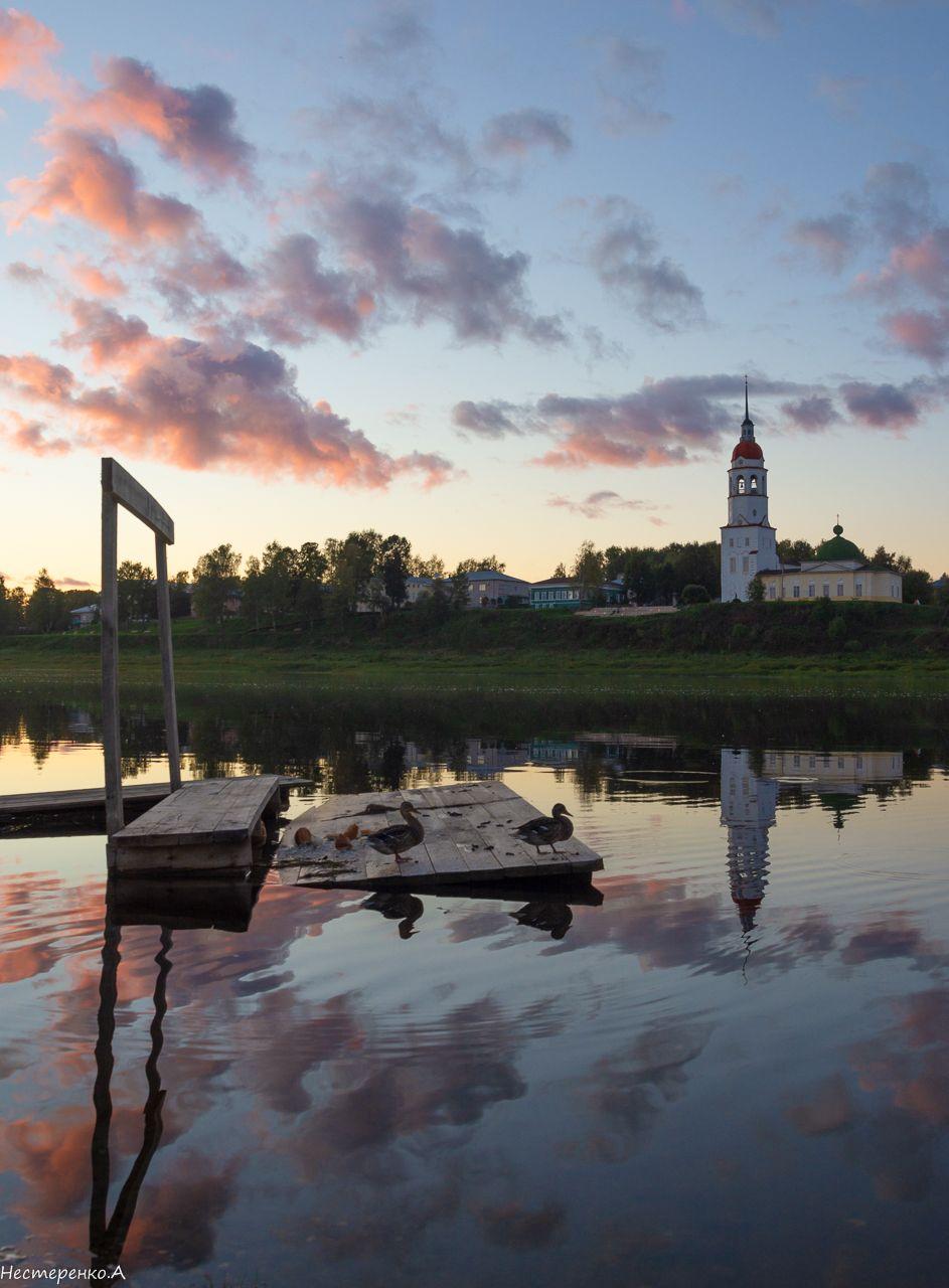 вечер,Тотьма,берег Сухоны. вечер тотьма сухона река