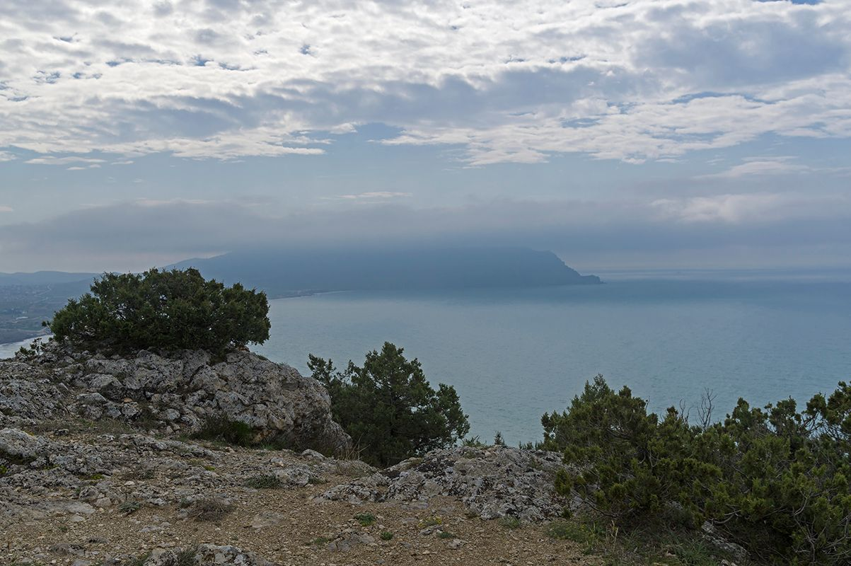 Крым, Судак, мыс Алчак (3). На вершине. Облачно...