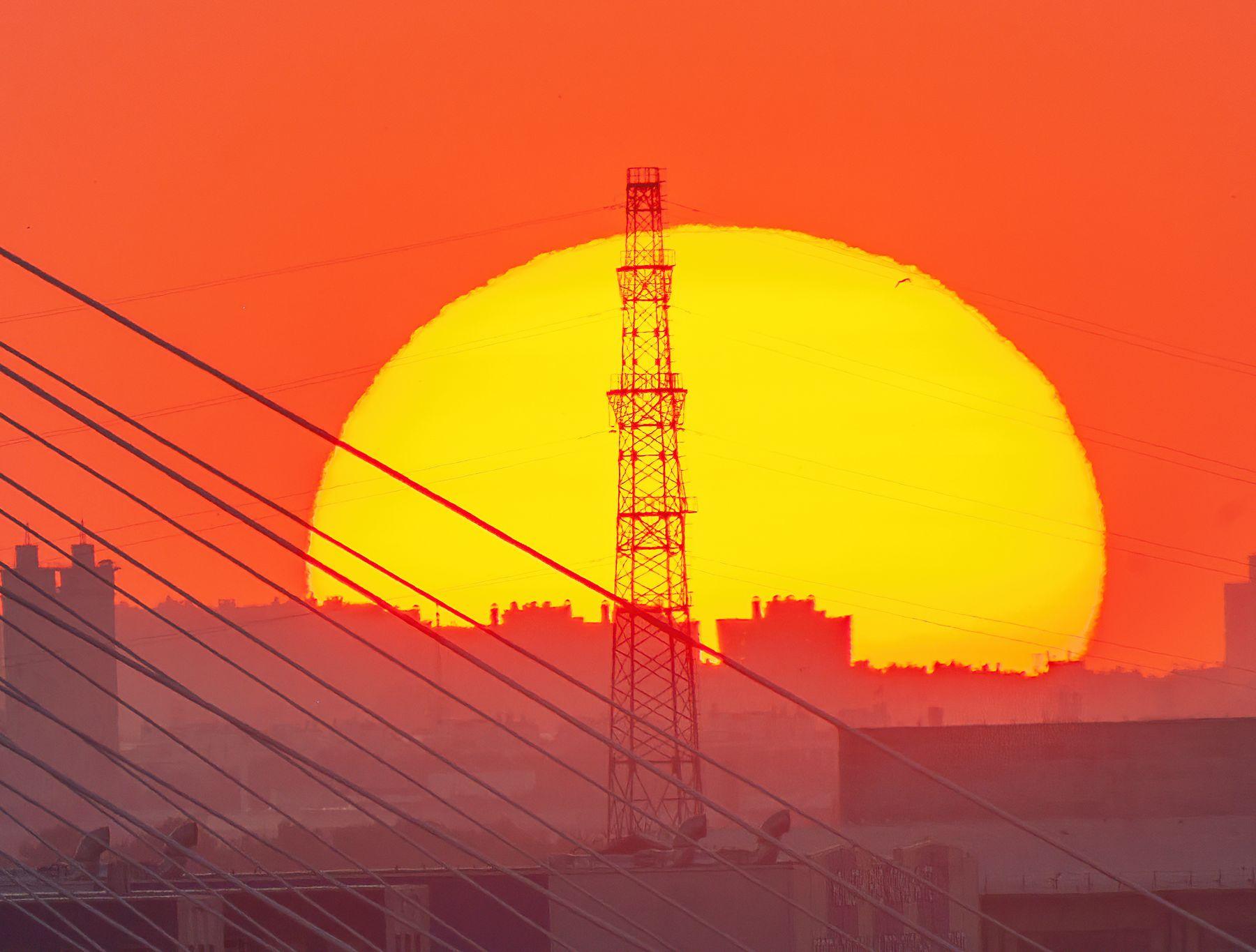 Красное солнце санкт-петербург вантовый мост солнце лето ночь вышка