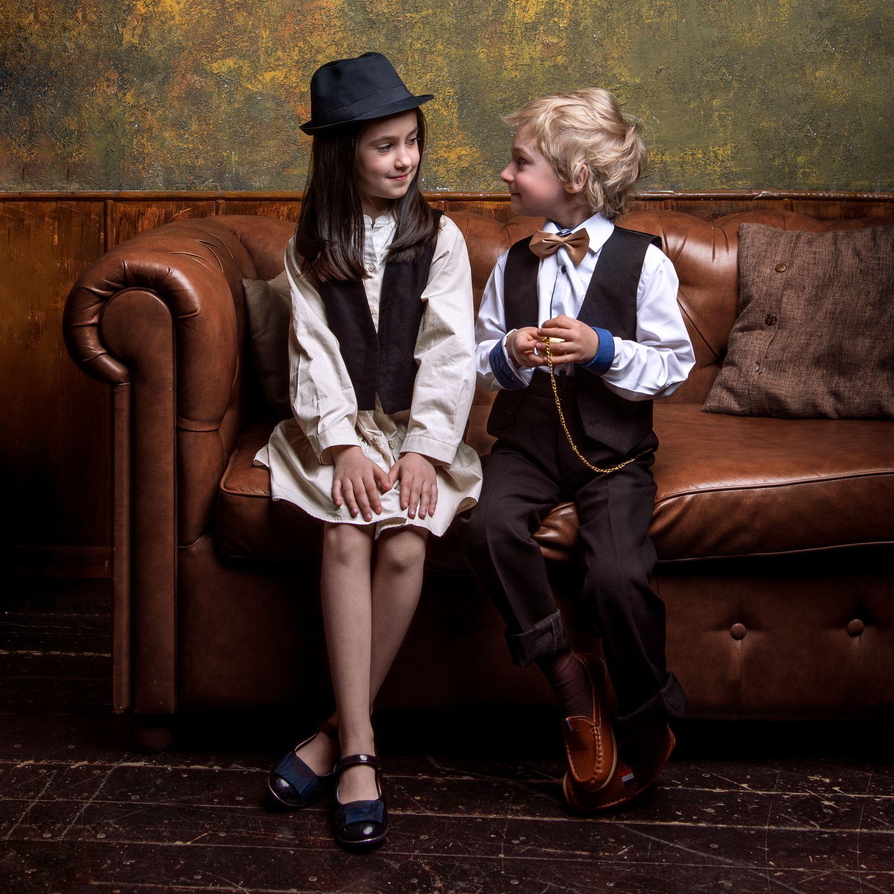 Лев и Кира Студийный портрет Арт детский фотосессия