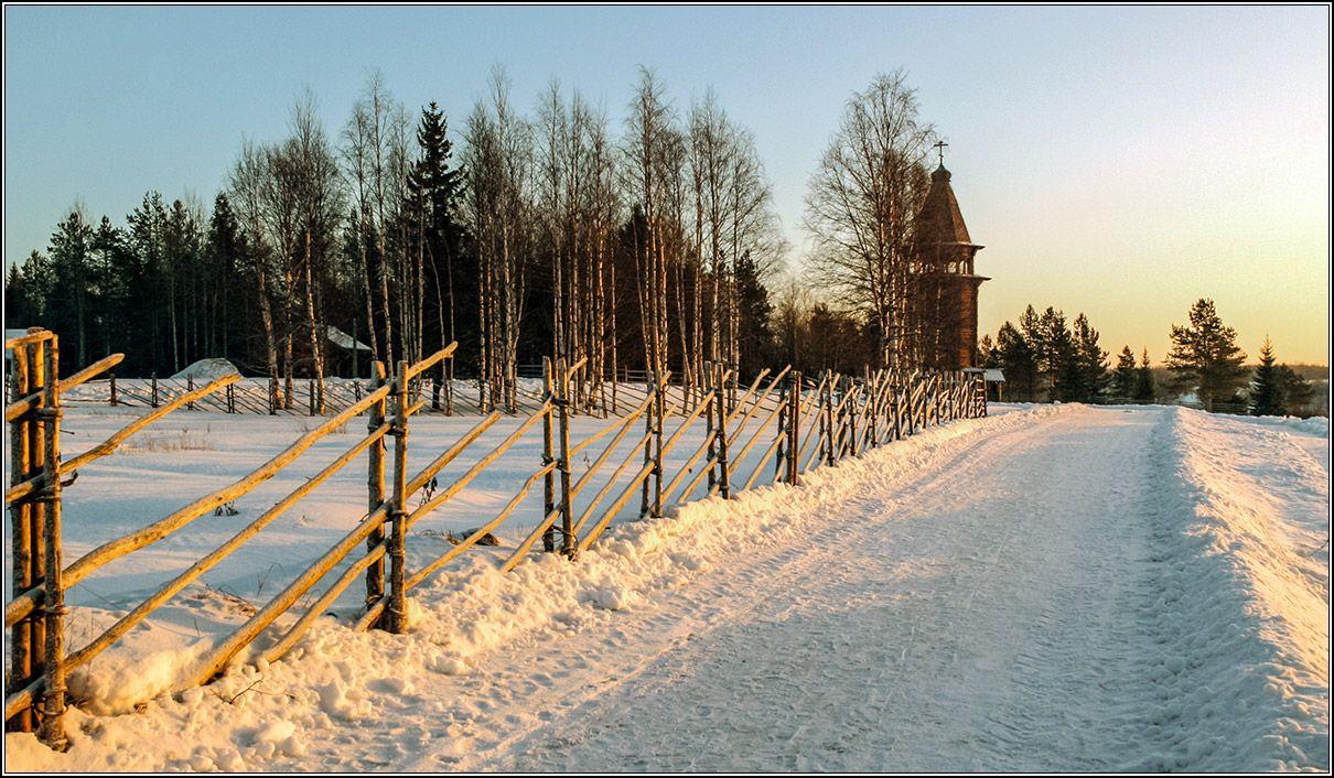 От рассвета до заката всего час. зима январь Архангельск