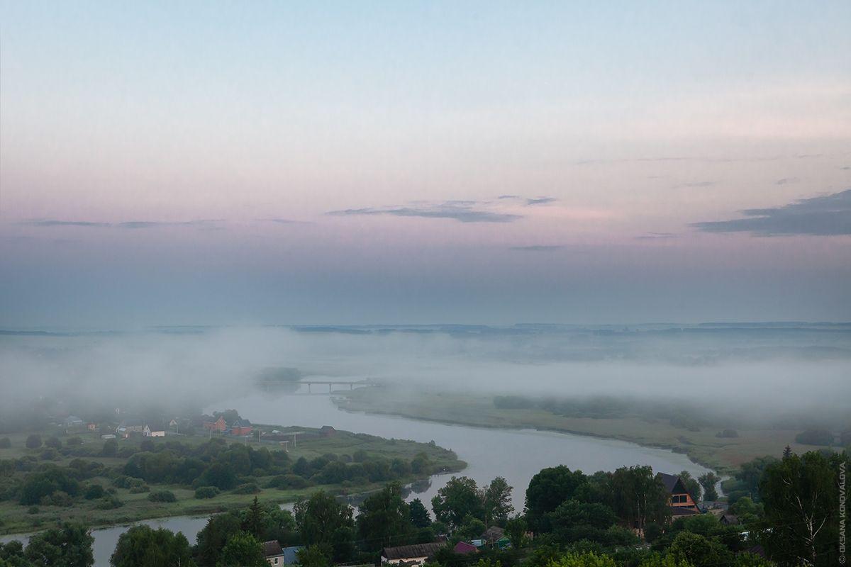***Там, где небо сливается с землей. Предрассветная. лето июнь река туман холмы лощины раннее утро рассвет