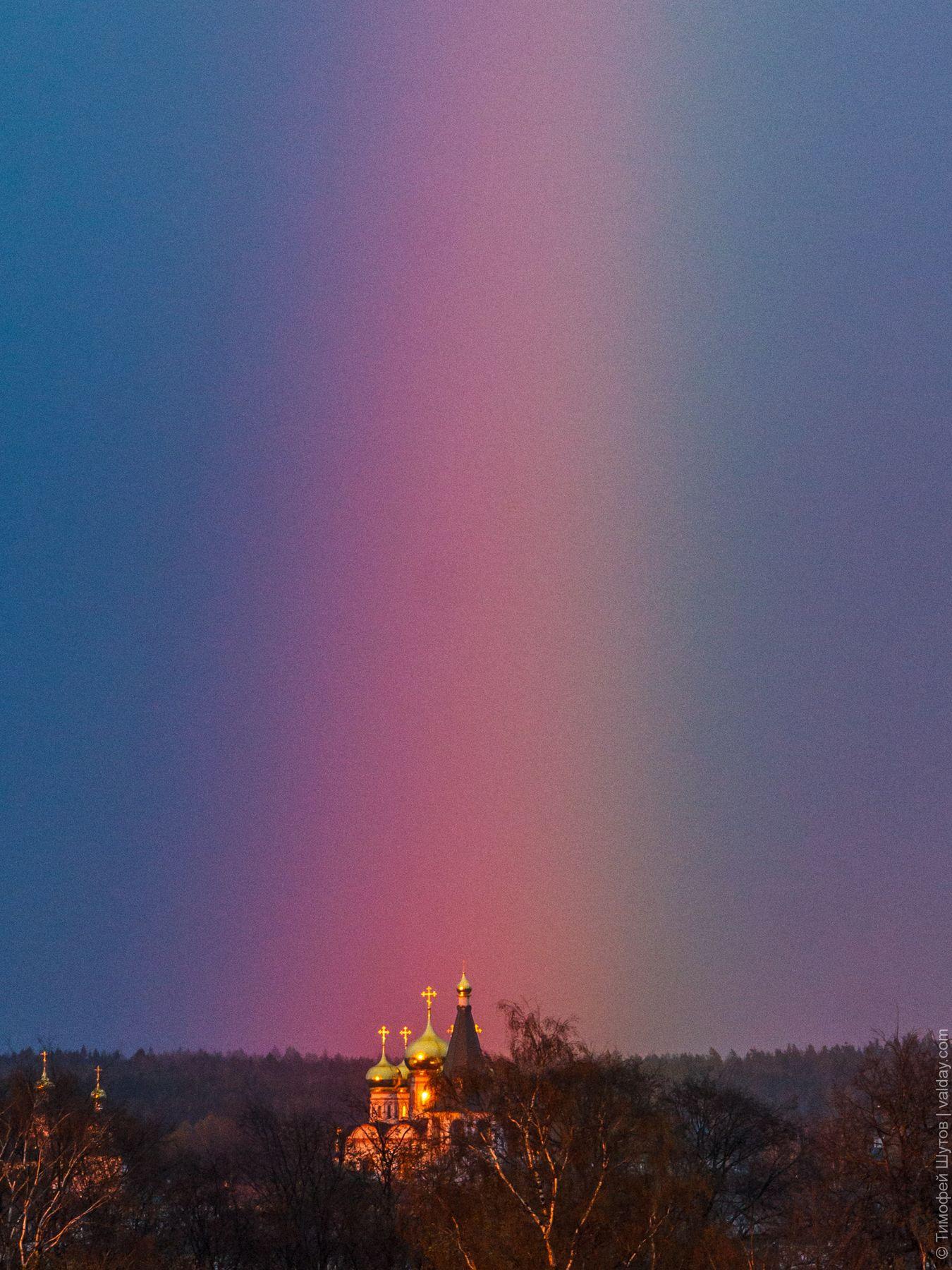 Радуга над обителью Иверский монастырь Валдай