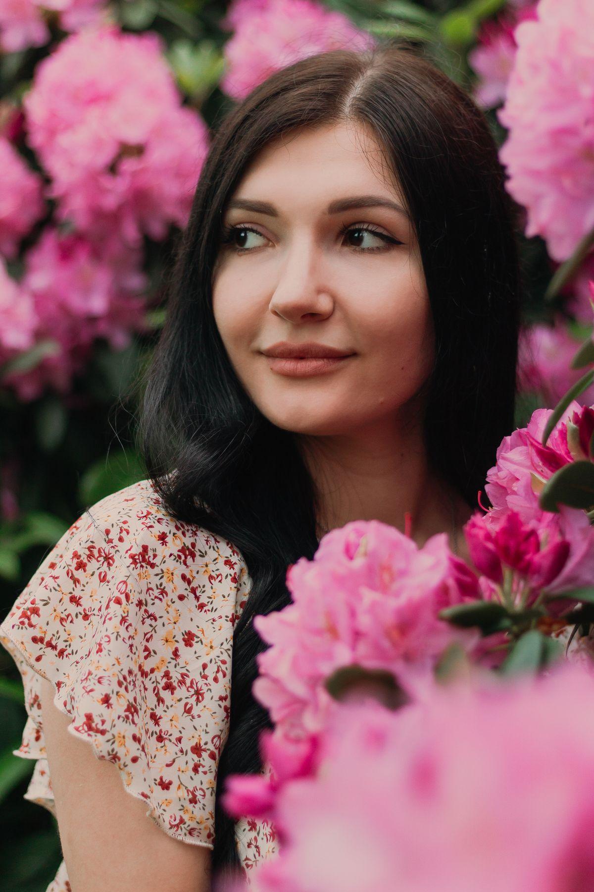 Портретная съемка цветы портрет