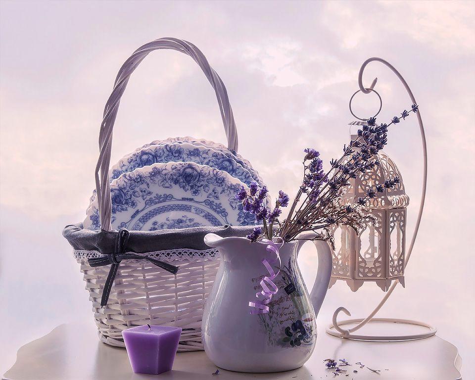 ***В стиле Прованс натюрморт художественное фото воздушность посуда Прованс лаванда