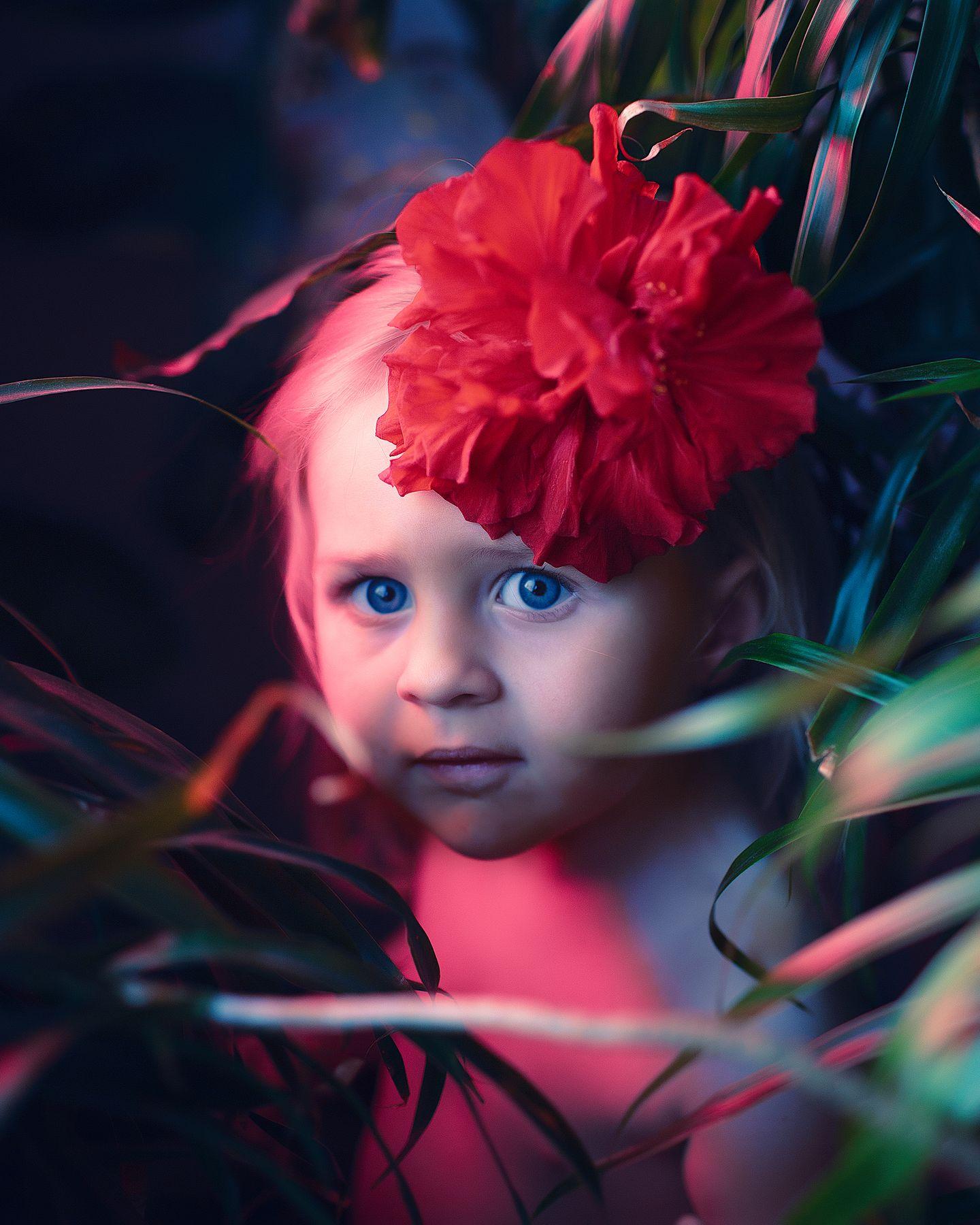Книга джунглей девочка цветок джунгли красный синий глаза