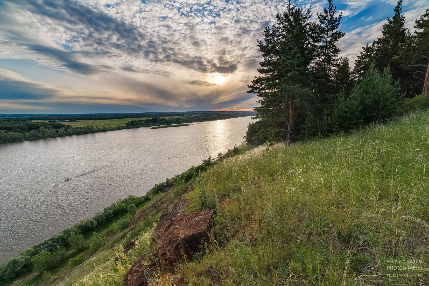 река Белая, солнце в облаках