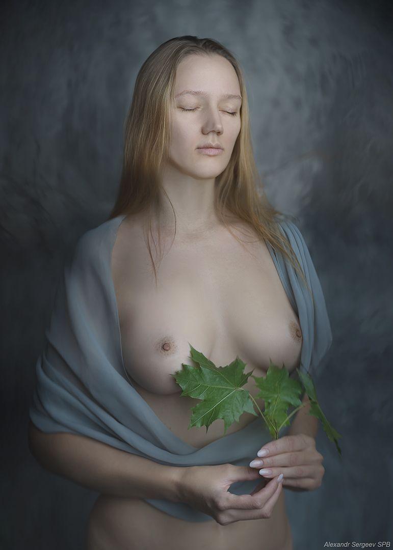 Девушка с листьями клёна девушка обнажённая красота нежность гармония настроение