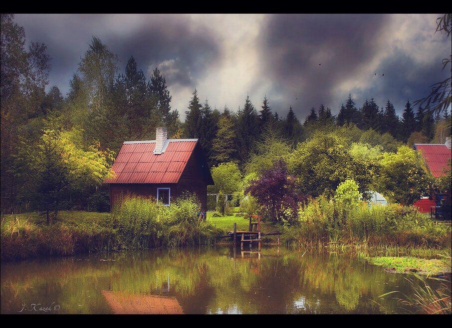 *** природа небо осень пруд