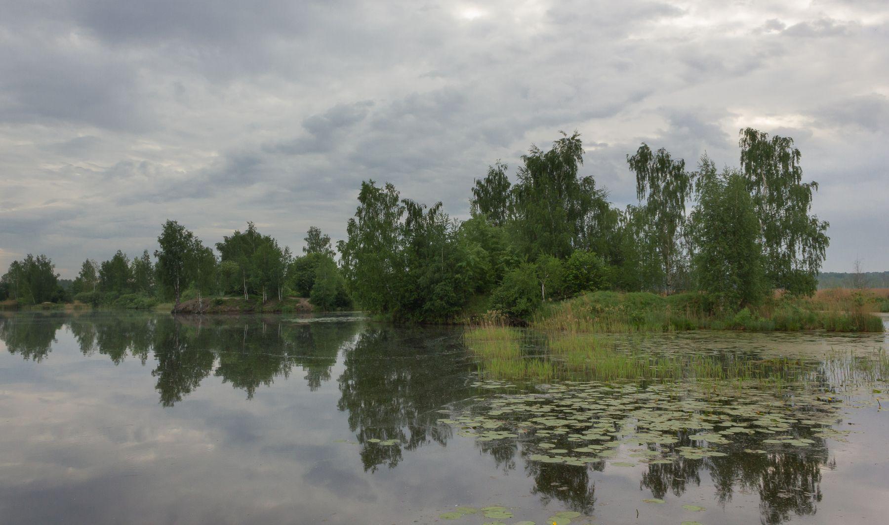 Хмурое утро облака отражение вода
