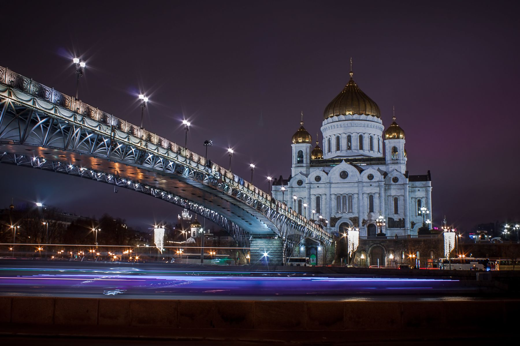 Новогодняя Москва Москва река вечер