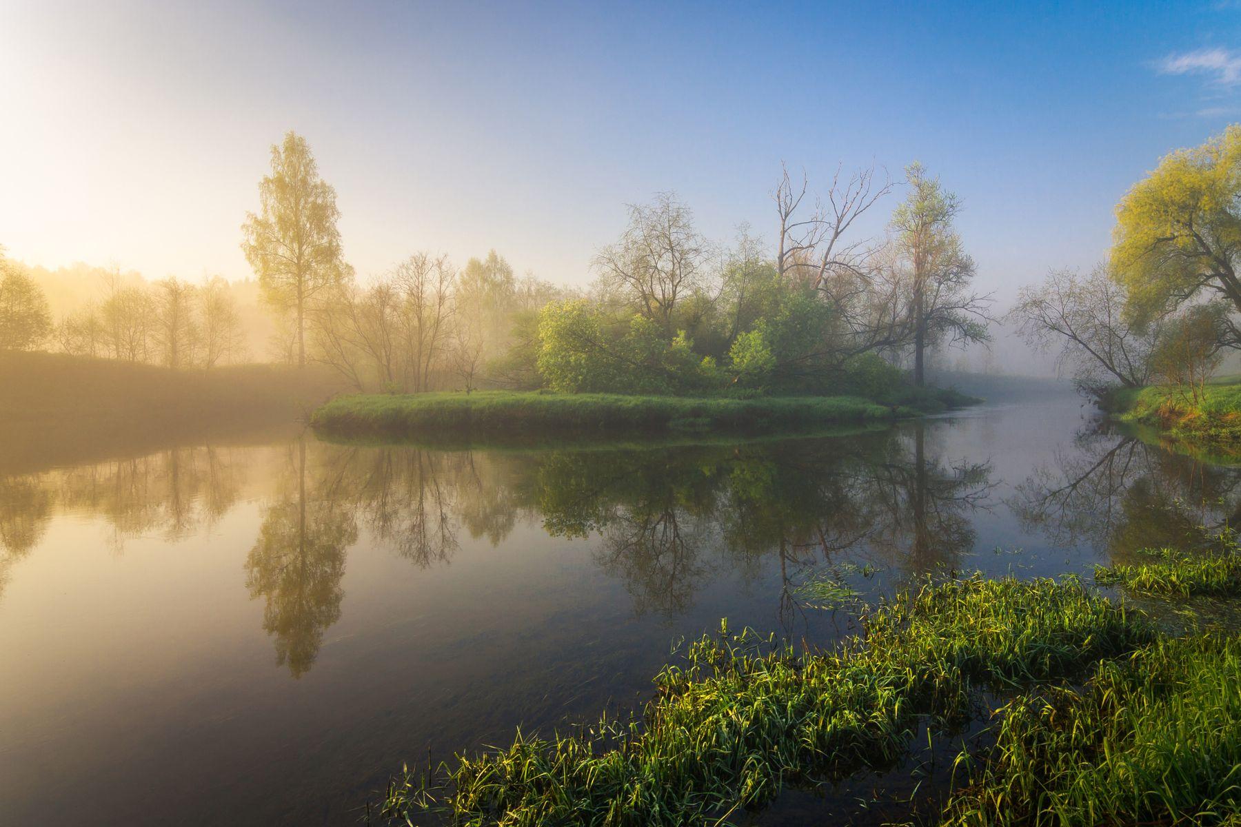 Майские туманы на Истре рассвет пейзаж река утро весна заря Истра май лето туман восход