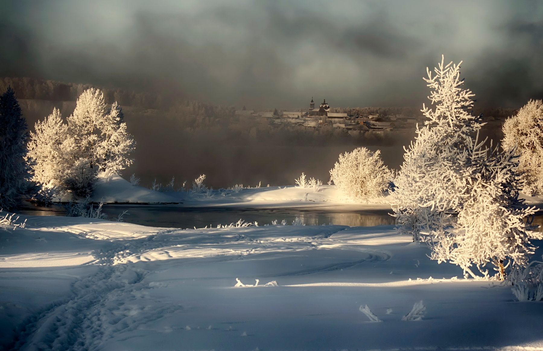 *** россия сибирь железногорск пейзаж зима Енисей