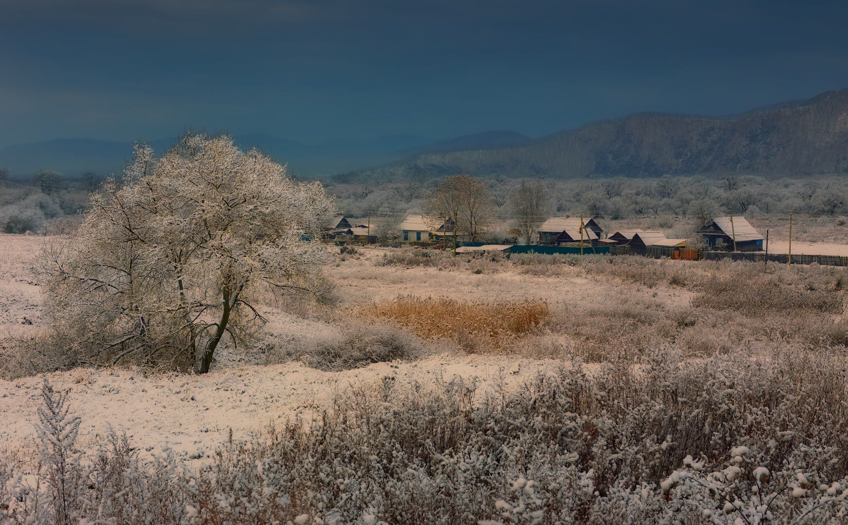 деревня деревня утро Приморье зима горы