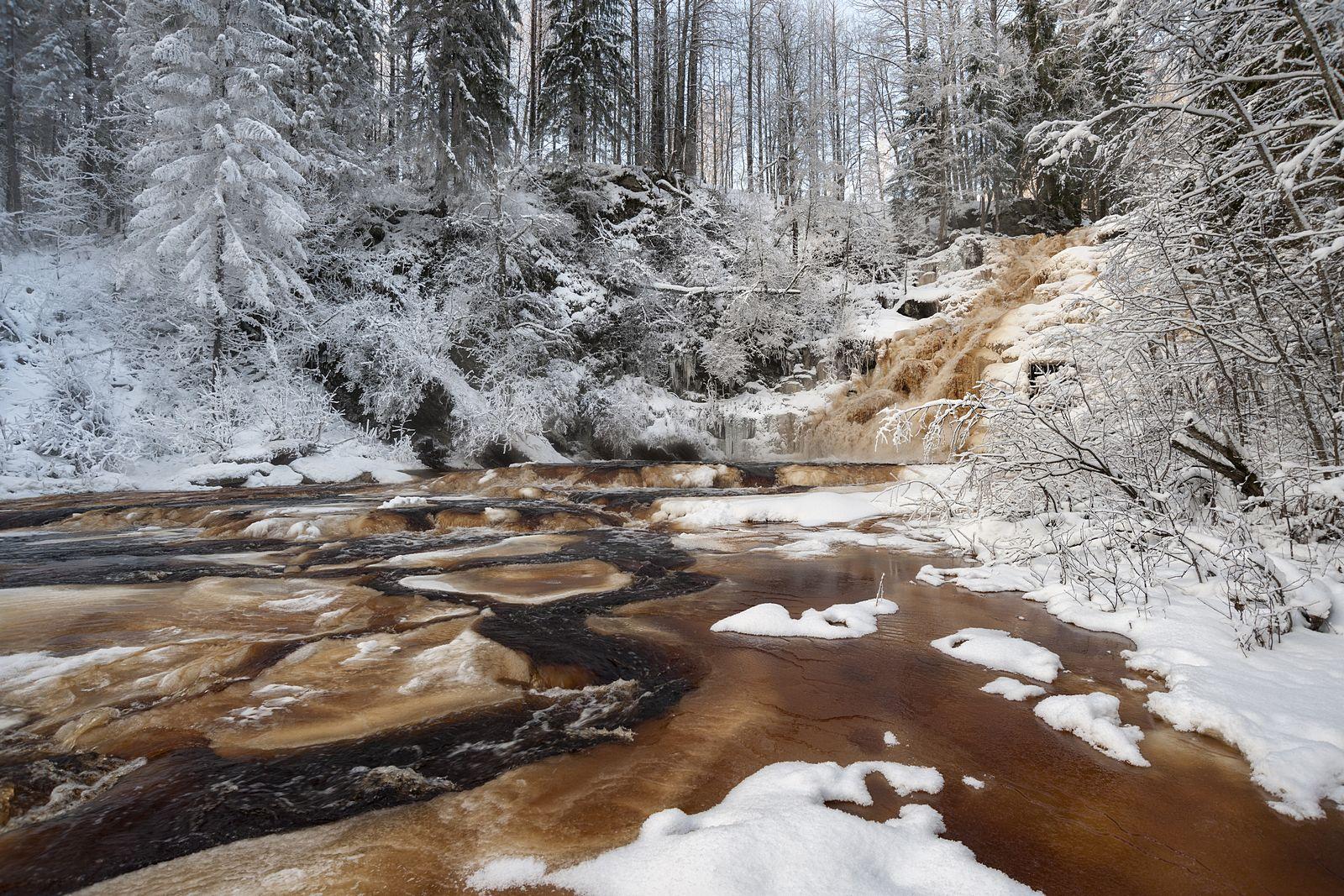 Зимняя кровь Юканкоски Юканкоски Карелия водопад зима