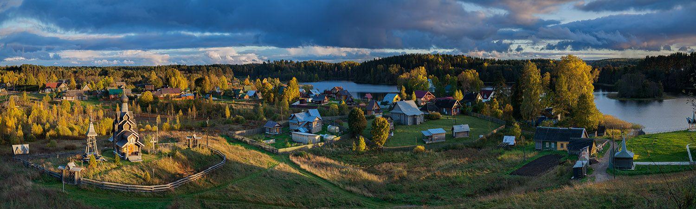 Березовый рядок на закате Селигер Березовый рядок закат золотая осень