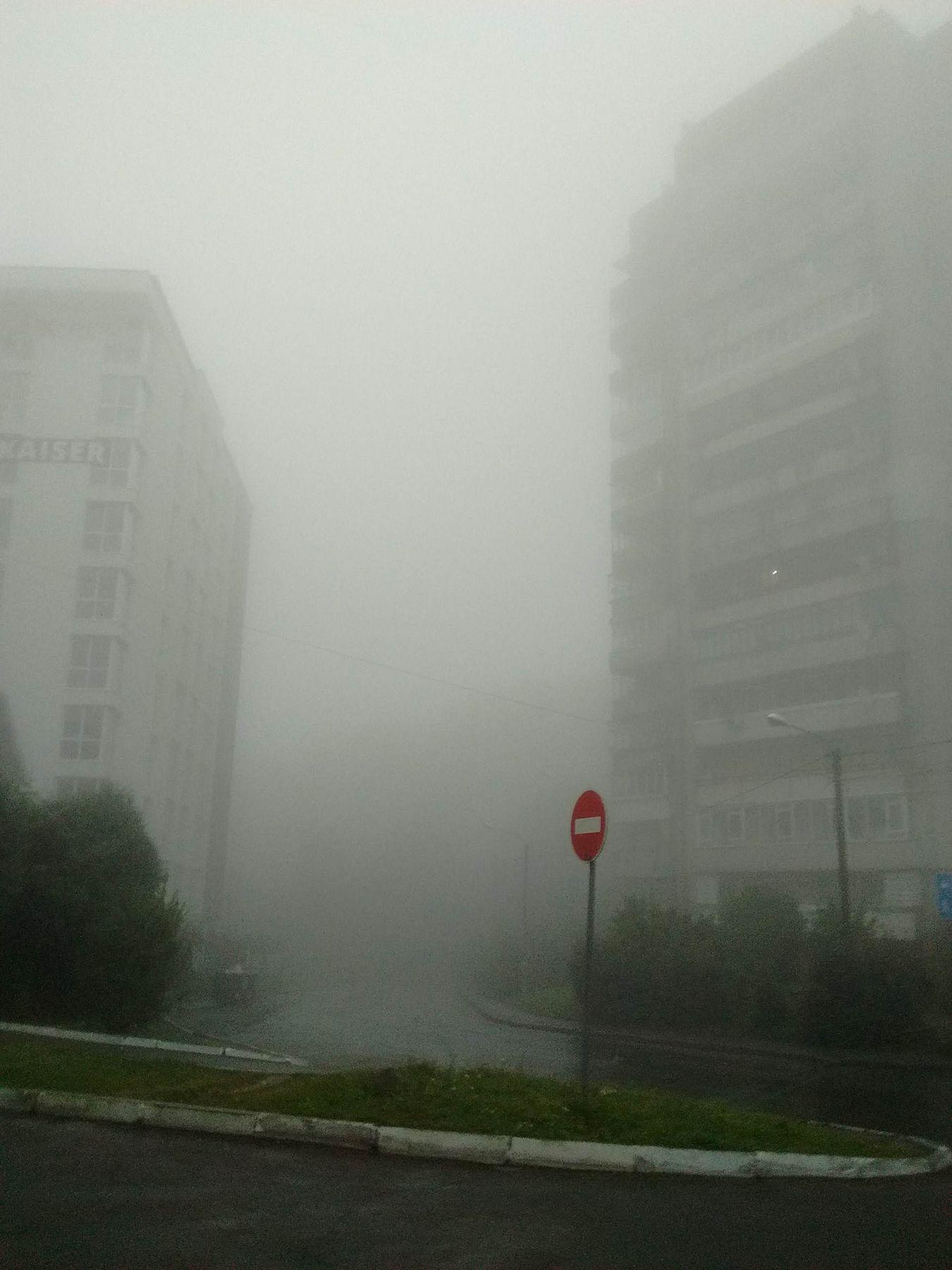 *** туман осень многоэтажки