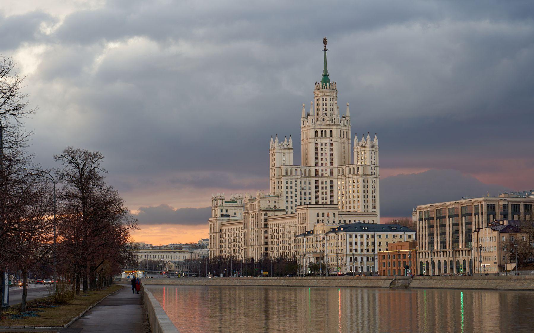 Московский апрельский закат Закат Москва апрель набережная