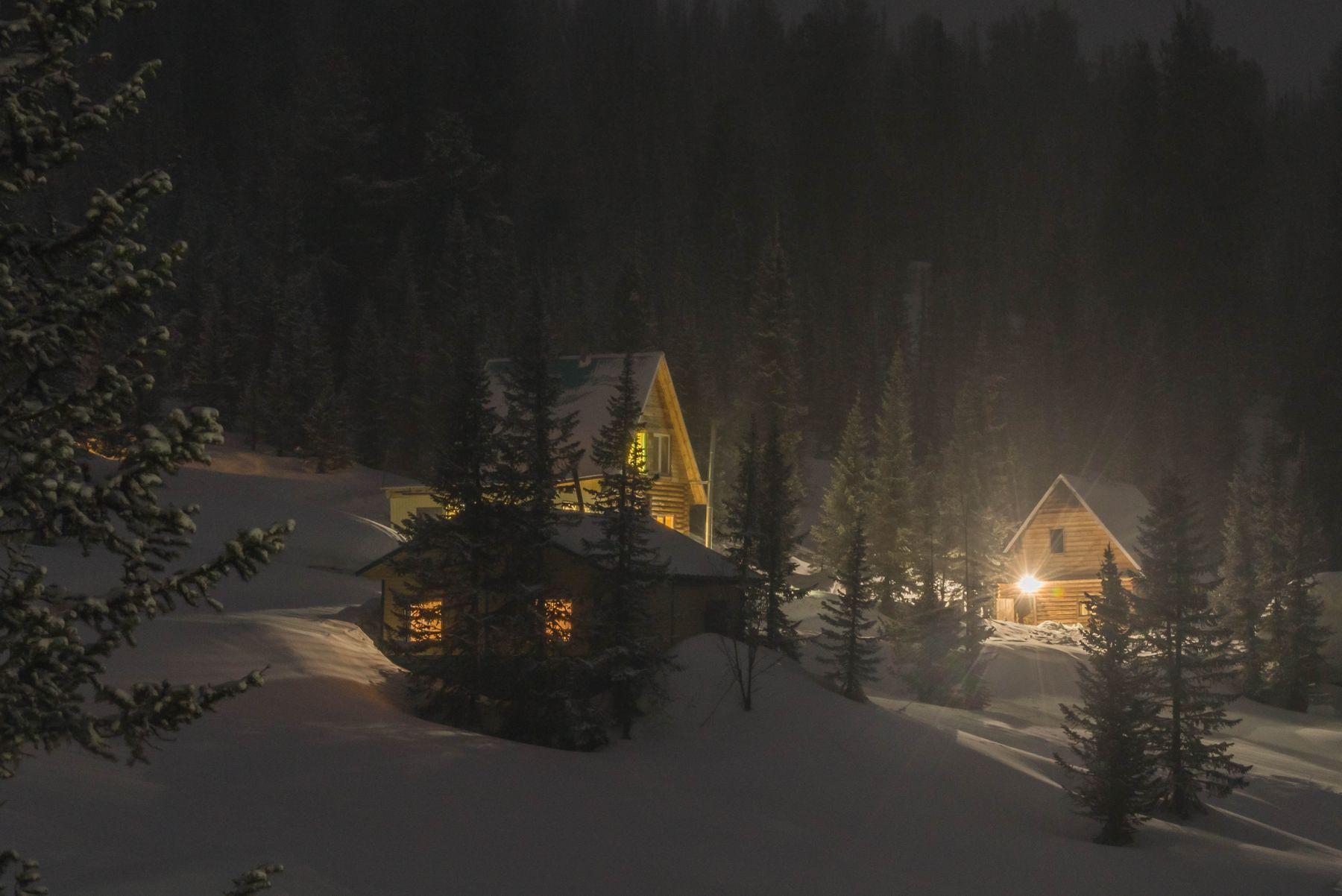 Зимняя сказка зима ночь снег дом