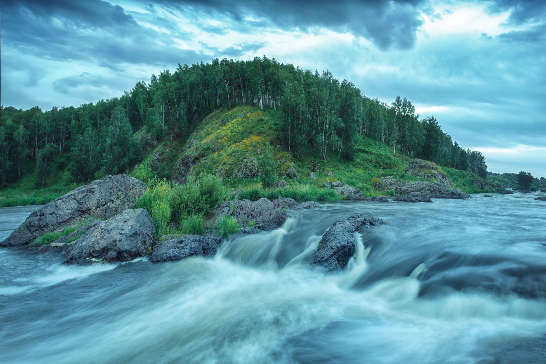 Перекаты озеро горы лес природа закат рассвет красота приключения путешествие облака